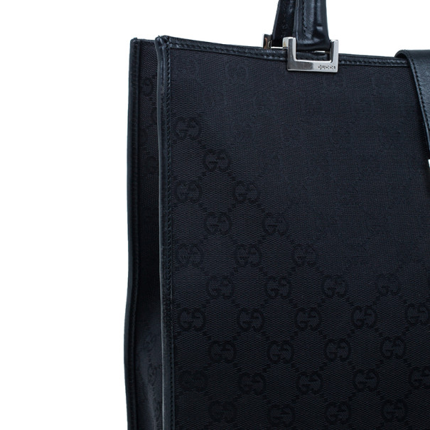 Gucci Black Monogram Canvas Piston Tote