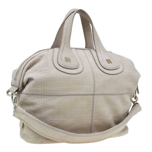 Givenchy Beige Leather Elephant Print Nightingale Tote