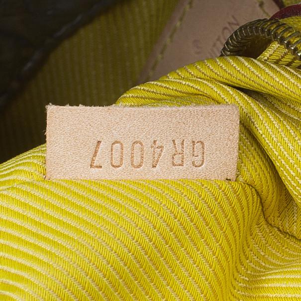 Louis Vuitton Silver Monogram Cowhide Leather Lime Light GM Clutch