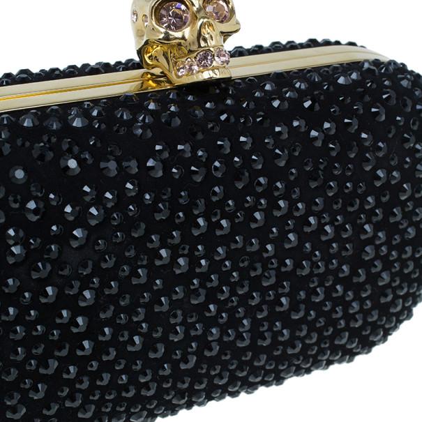 Alexander McQueen Black Crystal Skull Clutch
