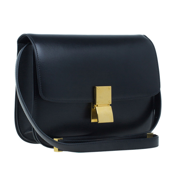 Celine Black Leather Medium Classic Box Shoulder Bag