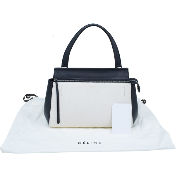 Celine Cream and Black Calfskin Small Edge Top Handle Bag