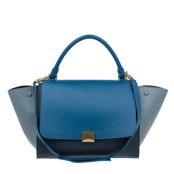 Celine Tricolor Calfskin Medium Trapeze Bag