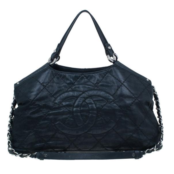 Chanel Black Leather Iridescent Sea Hit Tote