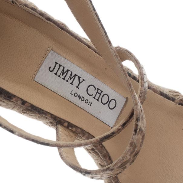 Jimmy Choo Snake Print Porto Espadrille Wedge Sandals Size 37