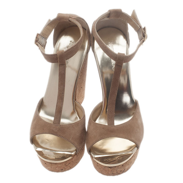 Jimmy Choo Beige Suede Pela Cork Wedge Sandals Size 37