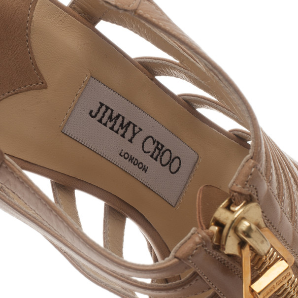 Jimmy Choo Beige Leather Zip Detail Glenys Strappy Sandals Size 37