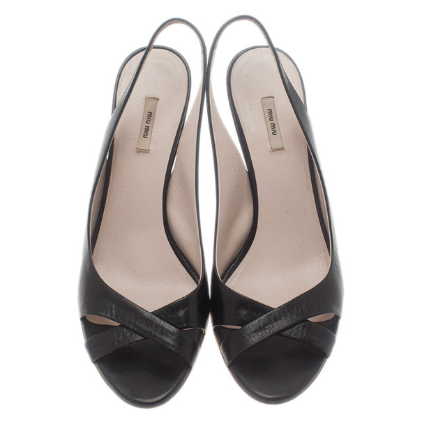 Miu Miu Black Leather Slingback Sandals Size 37