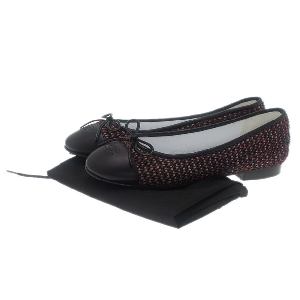 Chanel Red Tweed Cap Toe Ballet Flats Size 37