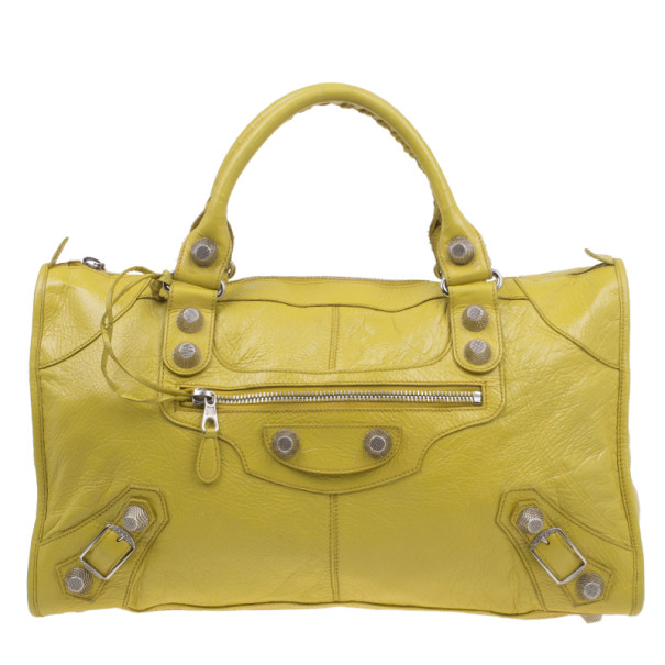 Balenciaga Yellow Lambskin Leather Giant 21 Gold City Bag