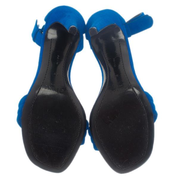 Celine Blue Suede Ankle Strap Sandals Size 37
