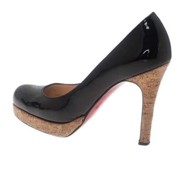 Christian Louboutin Black Patent Bruges Cork Platform Pumps Size 37.5
