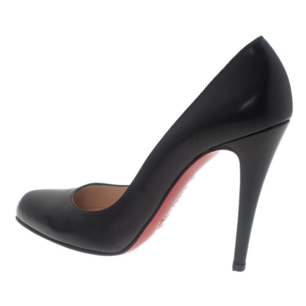 Christian Louboutin Black Leather Decollete Pumps Size 38