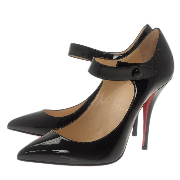 Christian Louboutin Black Patent Neo Pensee Mary Jane Pumps Size 37.5