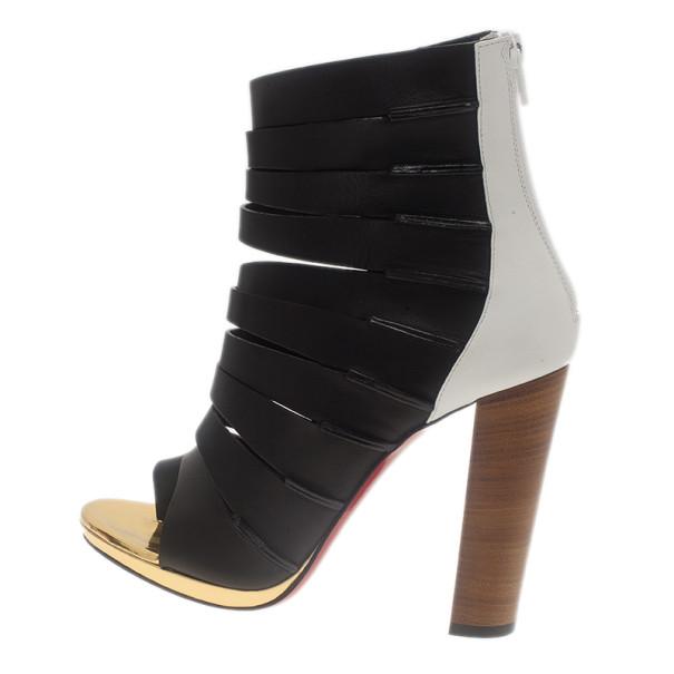 Christian Louboutin Black Leather Decoupata Strappy Booties Size 37.5