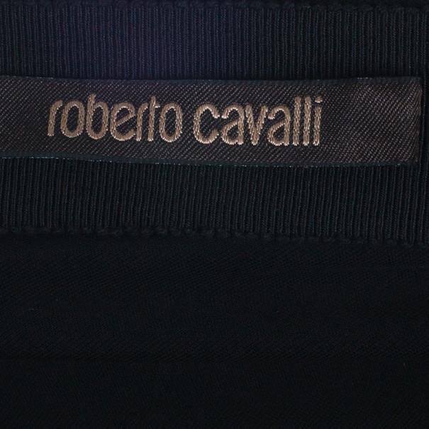 Roberto Cavalli Black Empire Waist Gathered Gown S