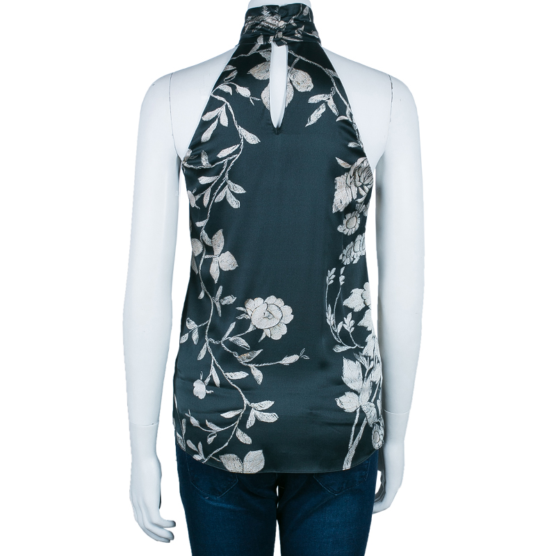 Roberto Cavalli Green Floral Silk Sleeveless Top S