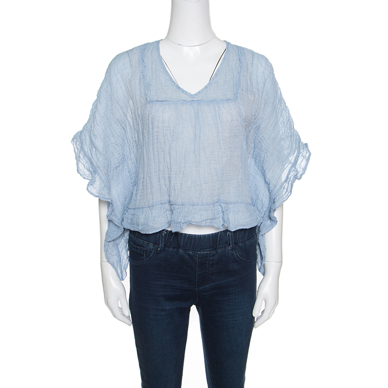 Купить со скидкой See By Chloe Blue and White Crinkled Cotton Ruffled Trim Top S