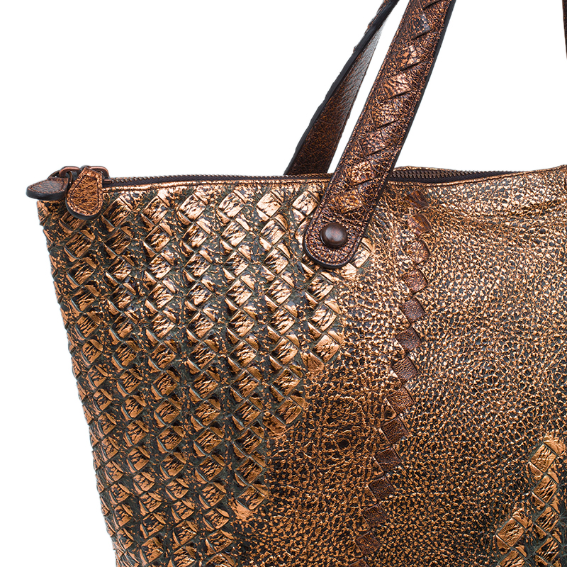 Bottega Veneta Bronze Deerskin Leather Cervo Tote Bag