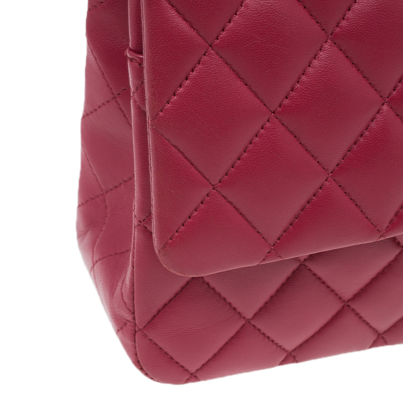 Chanel Red Quilted Lambskin Leather Medium Classic Double Flap Bag