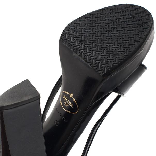 Prada Black Patent Slingback Sandals Size 40
