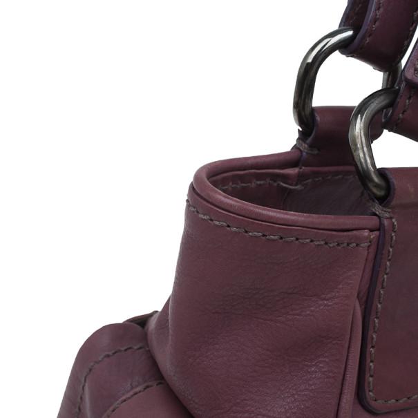 Prada Purple Calfskin Leather Antic Lock Rocket Hobo