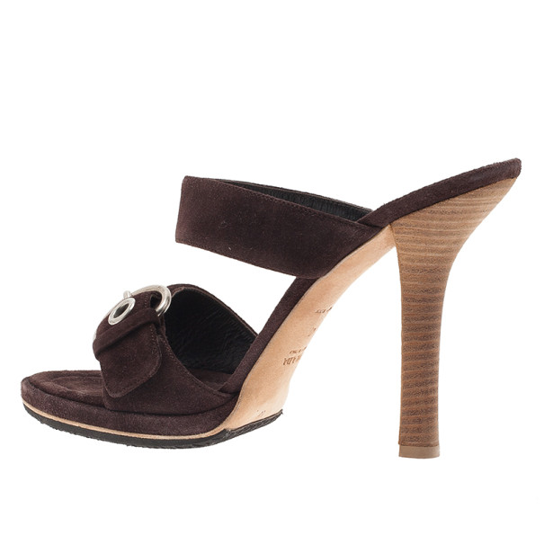 Prada Brown Suede Buckle Detail Slides Size 40
