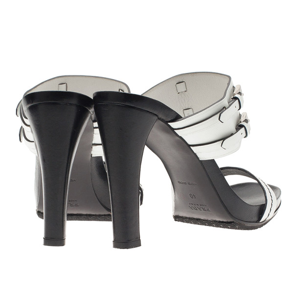 Prada White Leather Buckle Detail Slides Size 40
