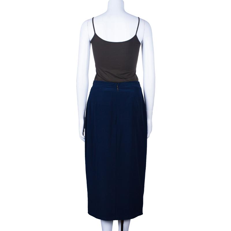 Burberry Navy Blue A-Line Skirt M