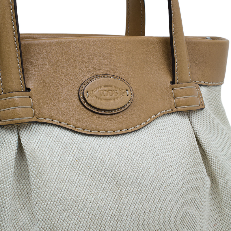 Tod's Cream/Brown Canvas Leather Mocassino Tote Bag