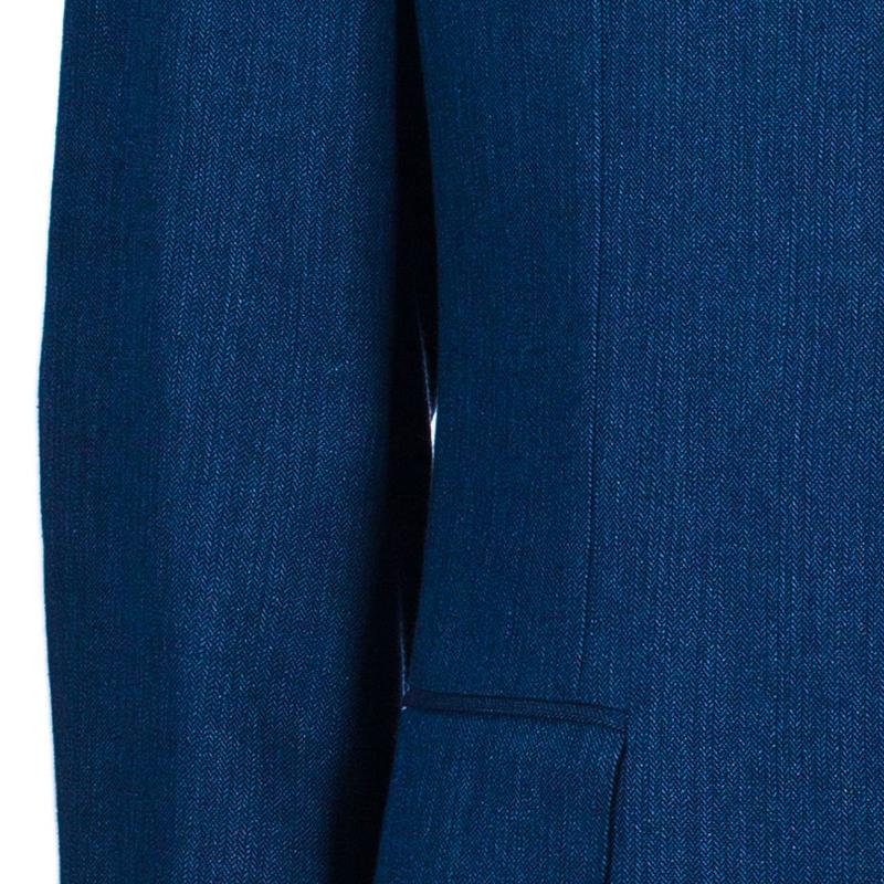 Celine Men's Blue Linen Blazer L