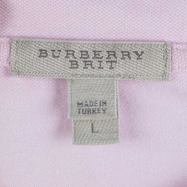 Burberry Brit Contrast Novacheck Sleeve Polo Shirt L