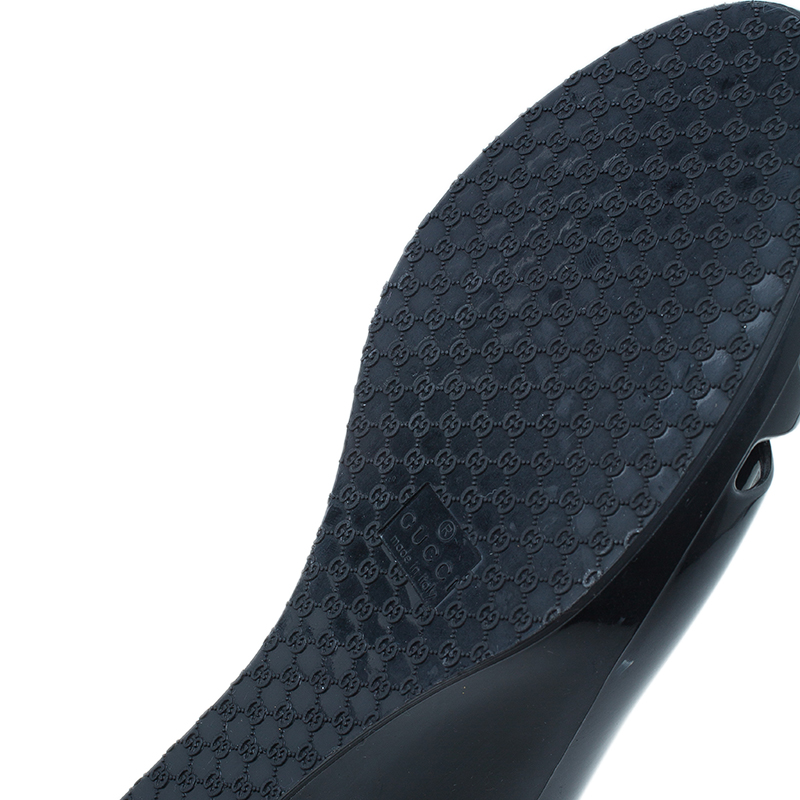 Gucci Black GG Marola Rubber Peep Toe Wedges Size 38