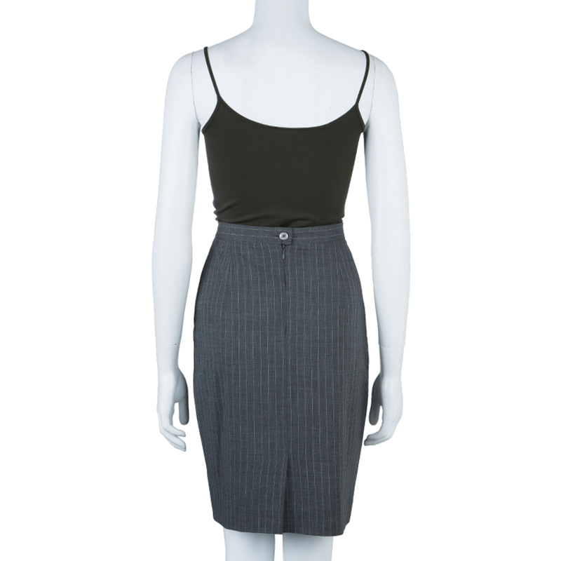 Max Mara Grey Pinstripe Pencil Skirt S