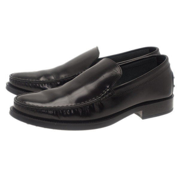 Tod's Black Leather Slip On Loafers Size 41