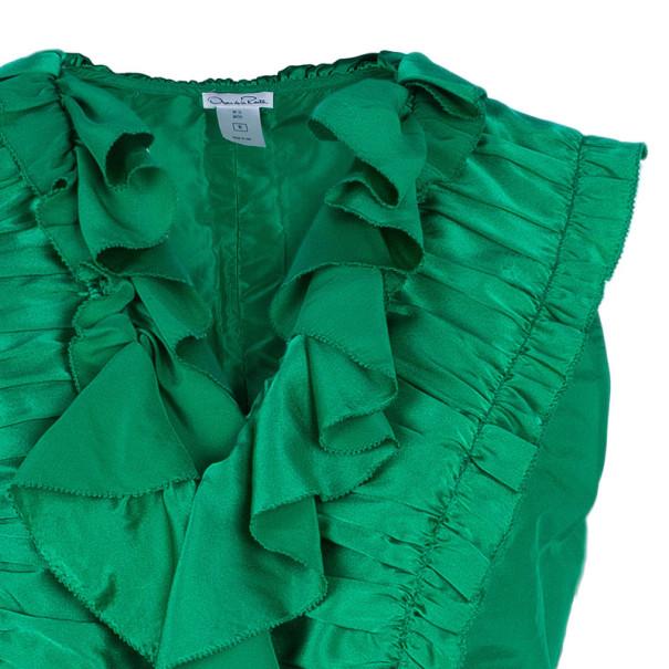 Oscar De La Renta Emerald Ruffle Satin Sleeveless Top L