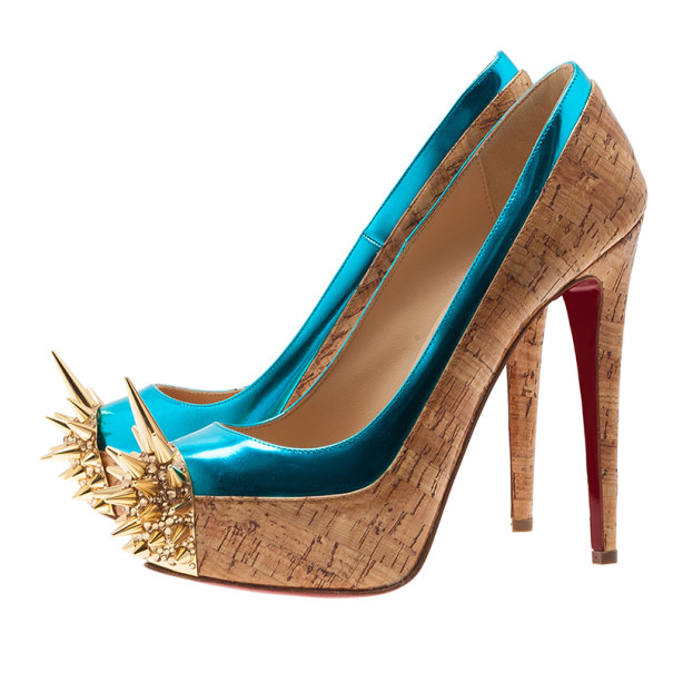 Christian Louboutin Two Tone Asteroid Spike Pumps Size 36.5