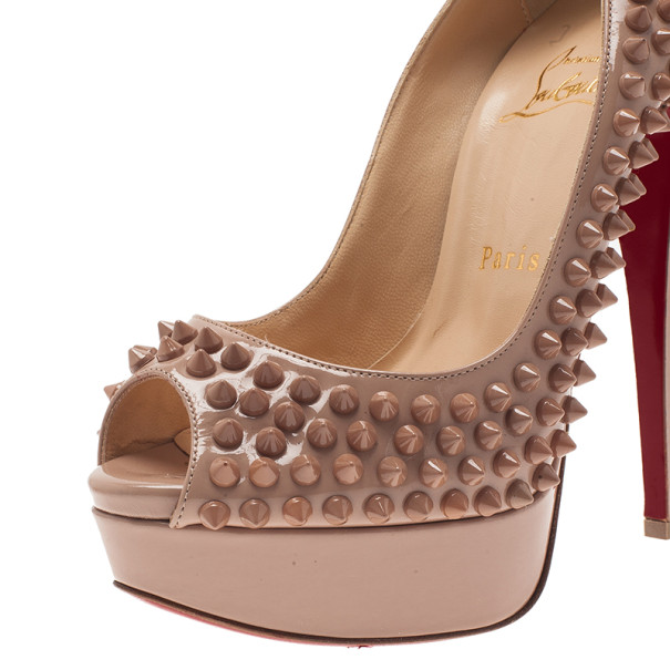 Christian Louboutin Blush Leather Lady Peep Spikes Platform Pumps Size 36