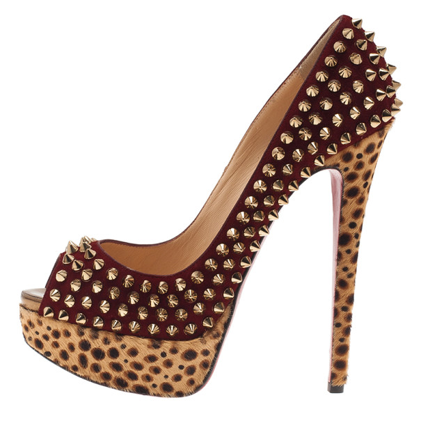 Christian Louboutin Maroon Suede Leopard Pony Hair Lady Peep Spikes Platform Pumps Size 36