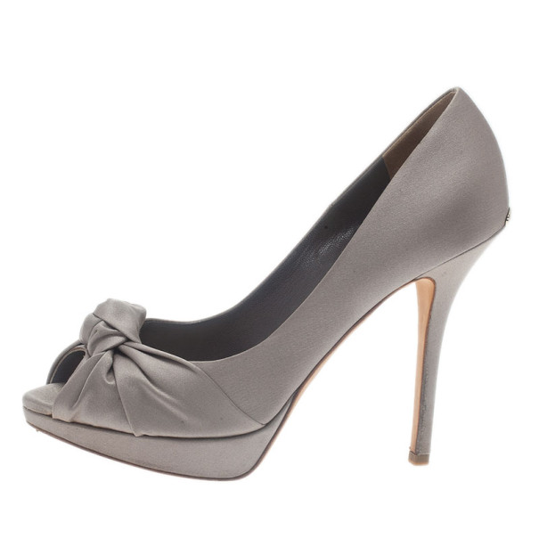 Dior Grey Knotted Satin Peep Toe Pumps Size 39