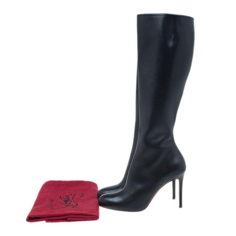 Christian Louboutin Black Leather Fifi Botta Knee Boots Size 40.5