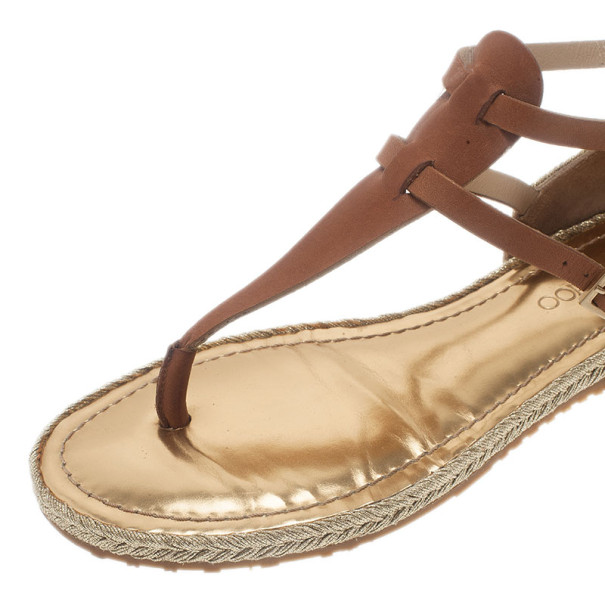 Jimmy Choo Brown Leather Pabla T-Strap Sandals Size 37.5