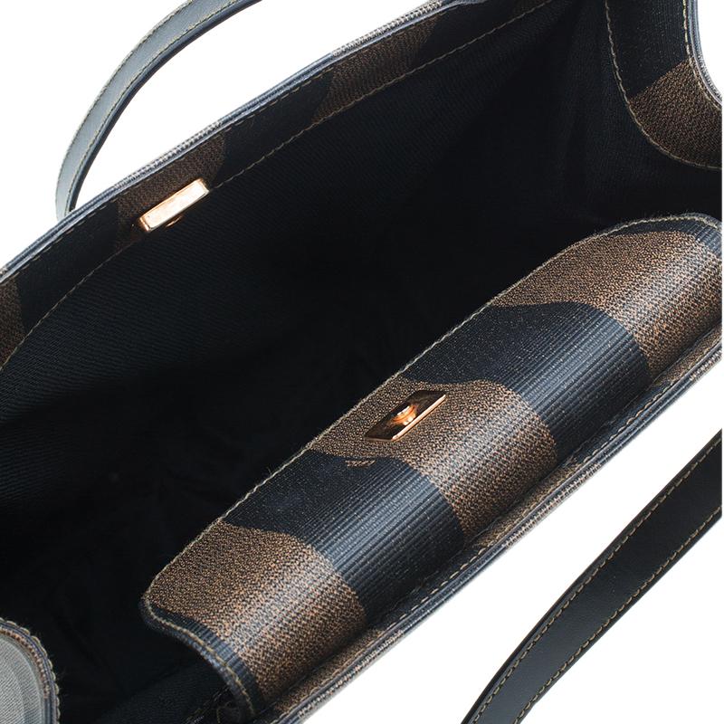 Fendi Brown Pequin Canvas Tote Shoulder bag
