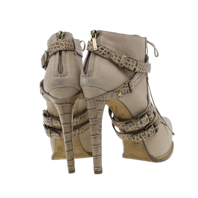 Dior Beige Guetre Leather and Crocodile Print Lace Up Ankle Boots Size 39