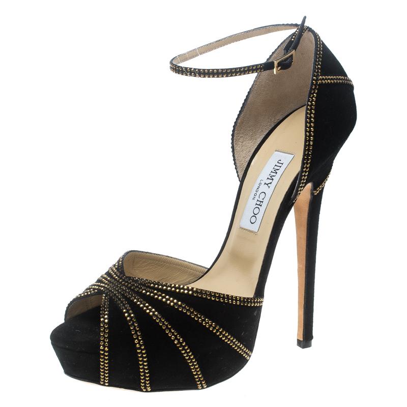 Купить со скидкой Jimmy Choo Black Suede Crystal Embellished Kalpa Ankle Strap Platform Sandals Size 41.5