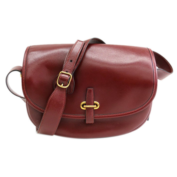 Hermes Burgundy Calfskin Leather Balle de Golf Crossbody