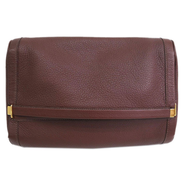 Hermes Burgundy Taurillon Clemence Leather Equi Clutch