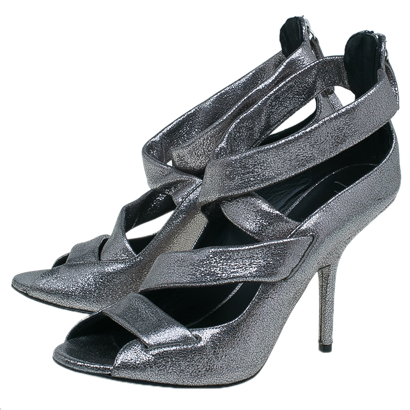 Giuseppe Zanotti Silver Metallic Leather Strappy Sandals Size 41