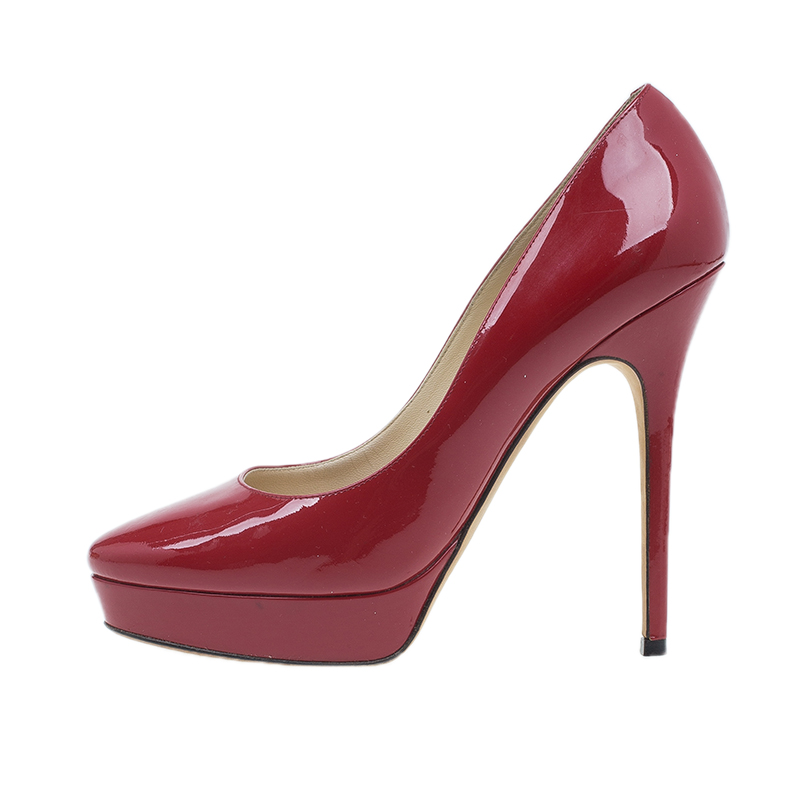 Jimmy Choo Red Patent Cosmic Platform Pumps Size 38