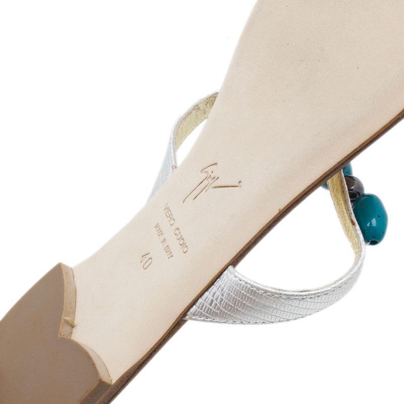 Giuseppe Zanotti Turquoise Beaded Leather Thong Sandals Size 40